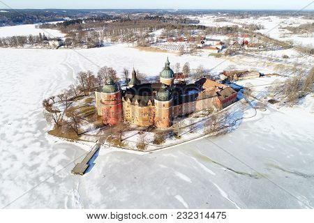 Aerial View During The Winter Season Of The Swdish Gripsholm Castle Located In The Province Of Soder