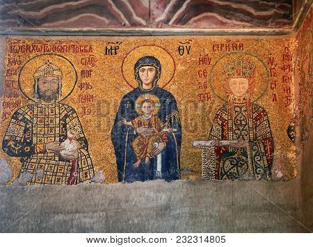 Istanbul, Turkey - March 28, 2012: Mosaic In Cathedral Of Hagia Sophia.