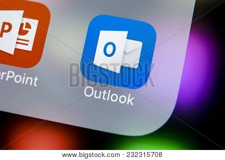 Sankt-petersburg, Russia, March 21, 2018: Microsoft Outlook Office Application Icon On Apple Iphone