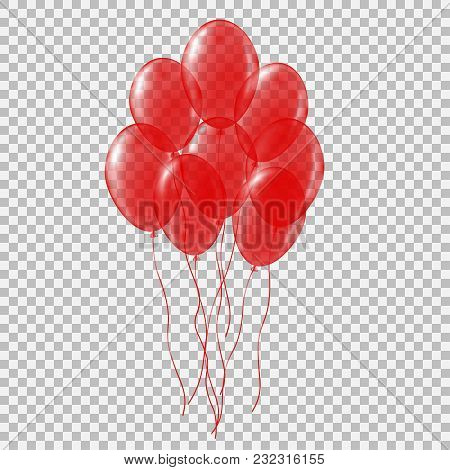 Set Of Transparent Colorful Helium Balloon. Isolated Vector Illustration On Plaid Transparent Backgr
