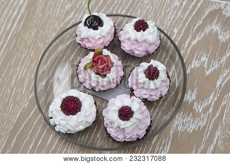 Vintage Cupcakes On The Transparent Plate For Breakfast