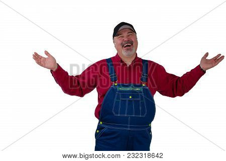 Laughing Happy Man In Dungarees Raising His Arms