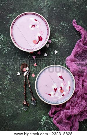 Sweet Berry Smoothies In Bowls. Healthy Dessert. Top View