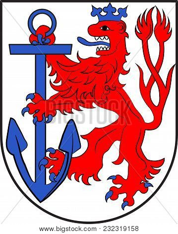 Coat Of Arms Of Duesseldorf Is The Capital City Of North Rhine-westphalia In Germany. Vector Illustr