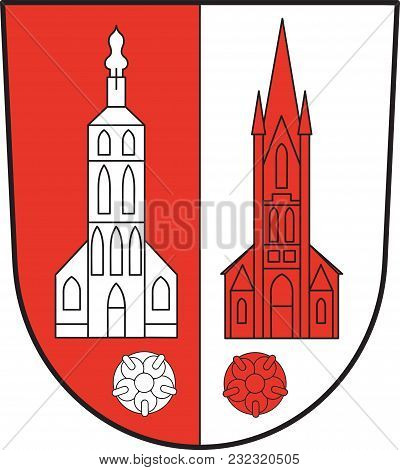 Coat Of Arms Of Kerken With The Towns Of Aldekerk, Eyll, Nieukerk And Stenden, Is A Municipality In