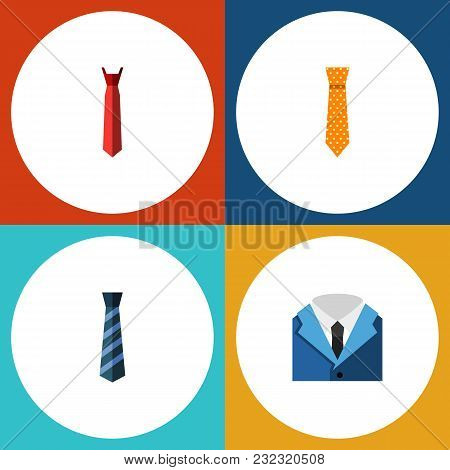 Icon Flat Tie Set Of Cravat, Style, Clothing And Other Vector Objects. Also Includes Fashion, Textil