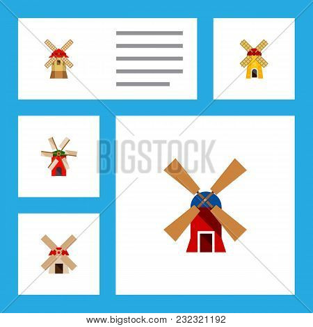 Icon Flat Mill Set Of Windmill, Ecology, Turbine And Other Vector Objects. Also Includes Windmill, E