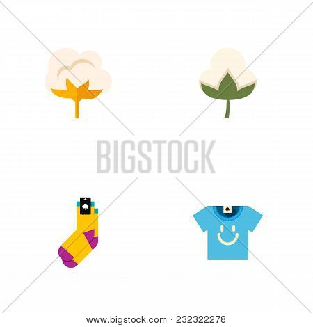 Icon Flat Cotton Set Of Cotton, T-shirt, Bud And Other  Objects. Also Includes Flower, Cotton, Blous
