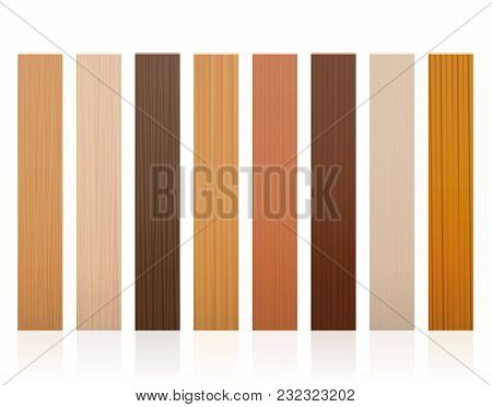 Wooden Slats. Collection Of Wood Boards, Different Colors, Glazes, Textures From Various Trees To Ch