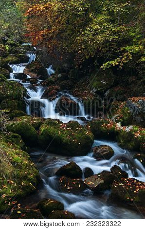 Soft Stream Flowing Over Mossy Rocks In The Colors Of Autumn