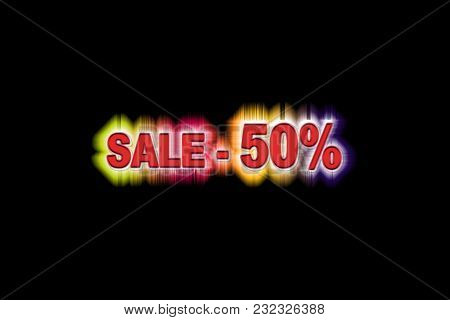 Fifty Percent Discount With A Simulation Volume With A Rainbow Glow On A Black Background