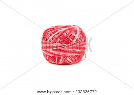 Red Ball Sewing Thread On White Background