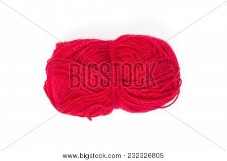 Red Ball Of Knitting Thread On White Background, Surface