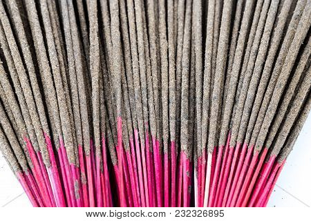 Close-up Bunch Of Incense Sticks Isolated