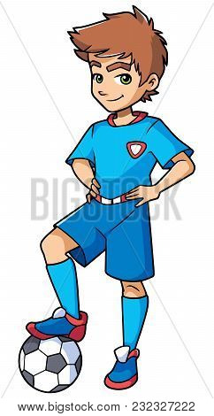 Full Length Illustration Of A Competitive Boy And Football Player With Blue Uniform Smiling At The B