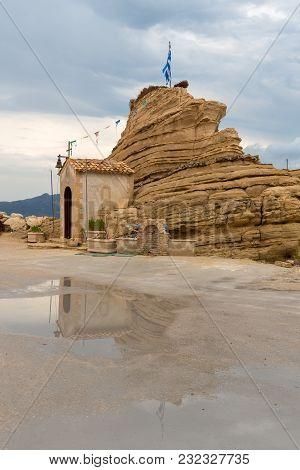 Chapel And Rock In Port Sostis On Zakynthos Island. Greece