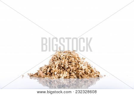 Oak Wood Shavings On A White Background, Shadows And Reflections, Wood Waste, Copy Space