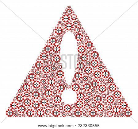 Important Sign Composition Done Of Roulette Casino Chip Elements. Vector Roulette Casino Chip Items