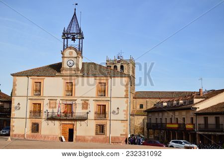 City Hall In Town Square Of Riaza Cradle Of The Red Villages In Addition Of Beautiful Medieval Town