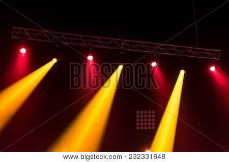 Concert Light Show, Stage Lightswith Red And Yellow Lights