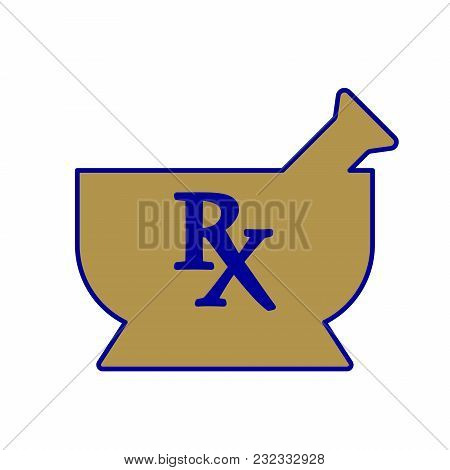 Mortar And Pestle Illustration With Rx Symbol