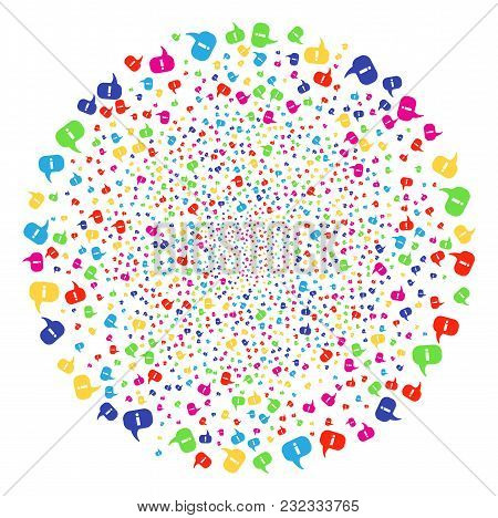 Multi Colored About Decoration Round Cluster. Vector Round Cluster Burst Done By Randomized About Sy