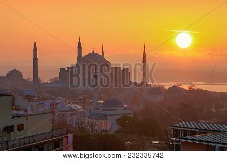 Istanbul, Turkey - March 29, 2012: Sunny Morning Over Cathedral Of Ayasofya.