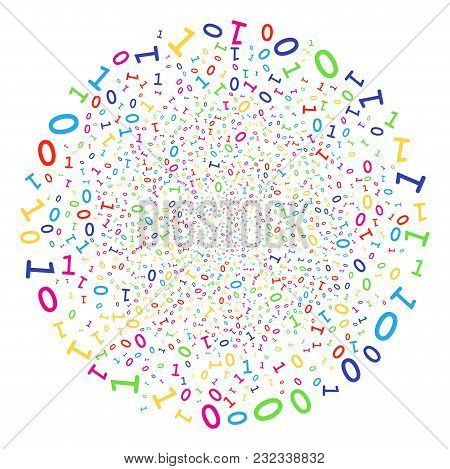 Multi Colored Binary Digits Sparked Round Cluster. Vector Round Cluster Burst Combined By Random Bin