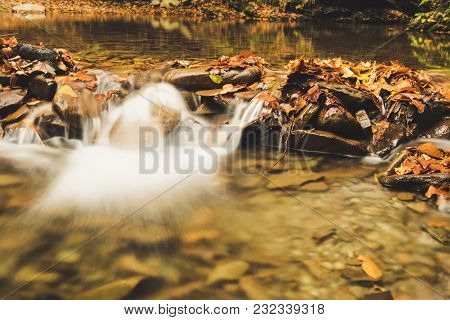 Autumn Mountain Waterfall Stream In The Rocks With Colorful Red Fallen Dry Leaves, Natural Seasonal