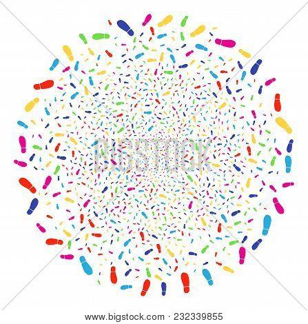 Multi Colored Boot Footprint Sparked Globula. Vector Spheric Cluster Burst Organized With Random Boo