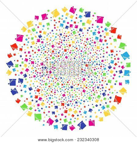 Multi Colored Bucket Festive Cluster. Vector Round Cluster Bang Designed By Random Bucket Objects. C