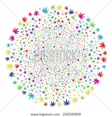 Bright Cannabis Exploding Spheric Cluster. Vector Round Cluster Salute Combined With Random Cannabis