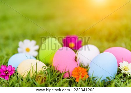 Happy Easter!  Closeup Colorful Easter Eggs On Green Grass Field Background.