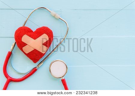 World Health Day, Healthcare And Medical Concept. Red Heart With Stethoscope On Pastel White And Blu