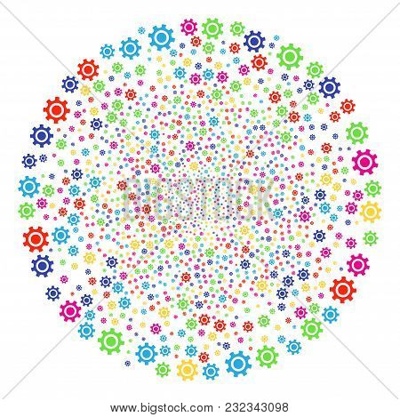 Multicolored Cogwheel Burst Round Cluster. Vector Sphere Fireworks Combined From Scattered Cogwheel
