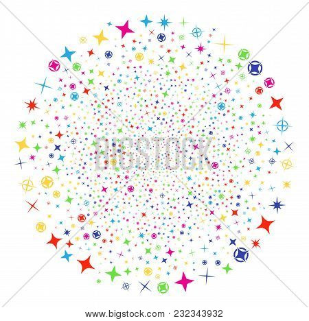 Multi Colored Confetti Stars Festival Sphere. Vector Cluster Burst Combined By Scatter Confetti Star