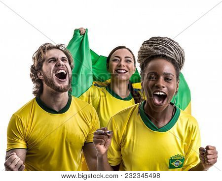 Brazilian friends fan celebrating