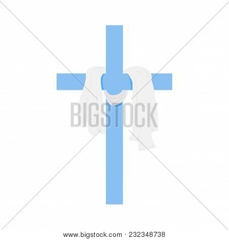 Vector Illustration For Christian Community: Shrouded Cross Isolated. Christian Cross Is Great For G