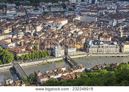 Aerial View Of Grenoble Old Town And Bridges Over Isere River, Auvergne-rhone-alpes Region, France.