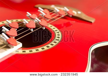 Red Guitar With Hearts,  Love Notes On Strings