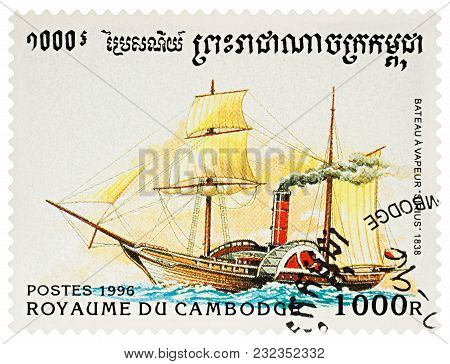 Moscow, Russia - March 22, 2018: A Stamp Printed In Cambodia Shows Old Paddle Steamer