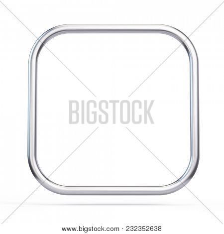 Metall frame square with rounded corners isolated on white. 3d rendering