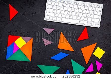 Pieces Of Bright Paper For Puzzle On Dark Office Desk Background Top View Mockup