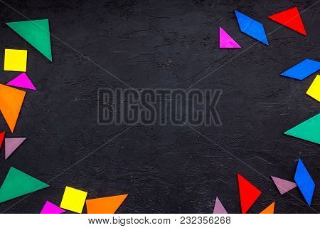 Color Paper Pieces For Business Puzzle On Black Table Background Top View Space For Text