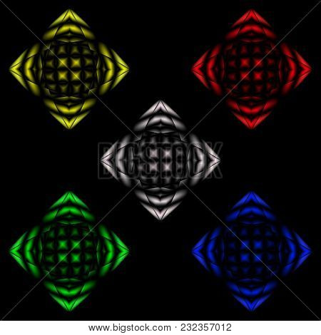 Abstract Image Of Disco Ball. Multicolored Elements For A Traffic Light Or A Disco Or Decoration.