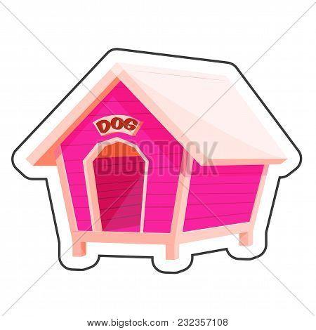 Dog House Cartoon Sticker Vector Illustration For Pet Shop