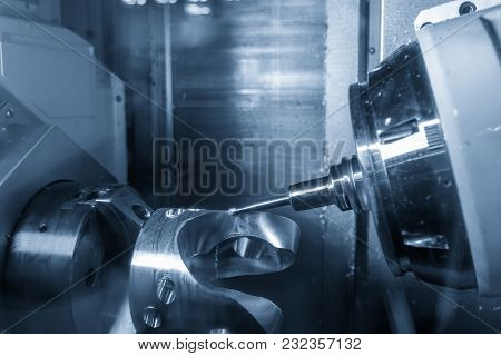 The Spindle Tile Type 5 Axis Cnc Milling Machine Cutting The Automotive Part.