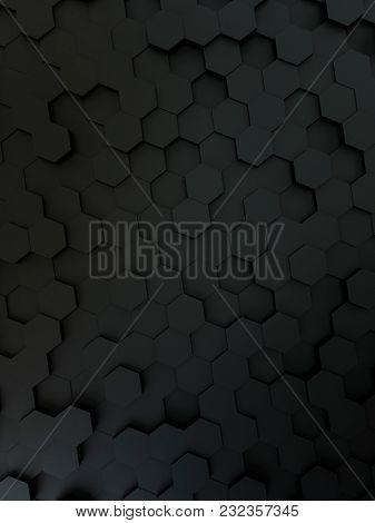 3d illustration of a black hexagon background
