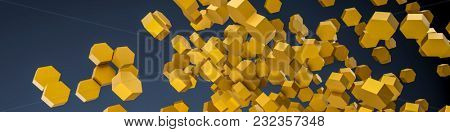 3d illustration of a chaotic orange hexagon background
