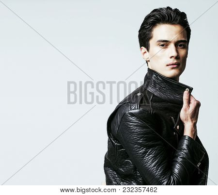 Young Handsome Man, Leather Jacked On Naked Torso, Emotional Posing, White Background, Modern Guy, L